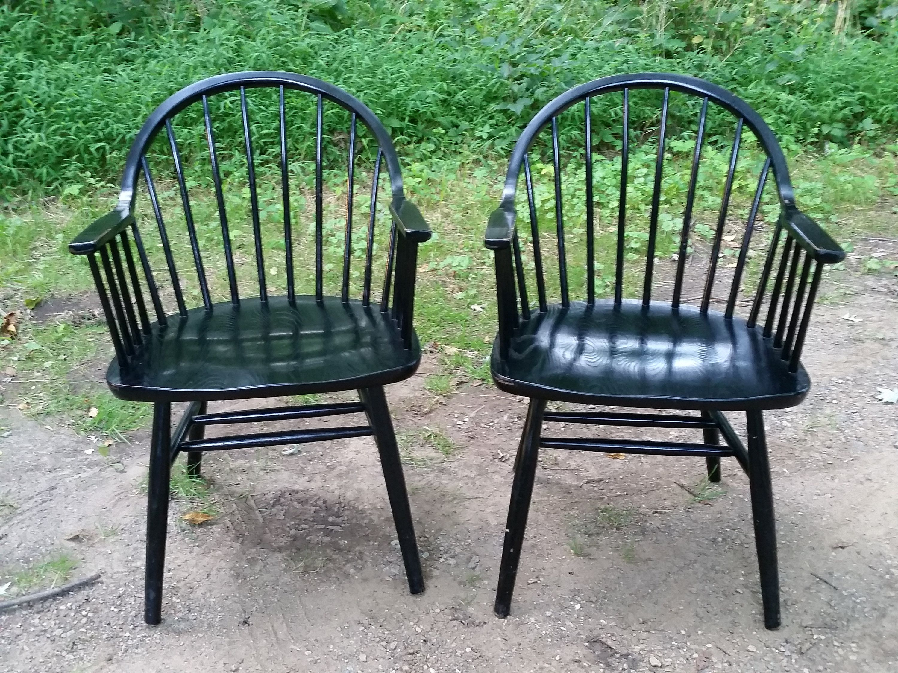 2x mid century windsor chairs in black lacquer etsy