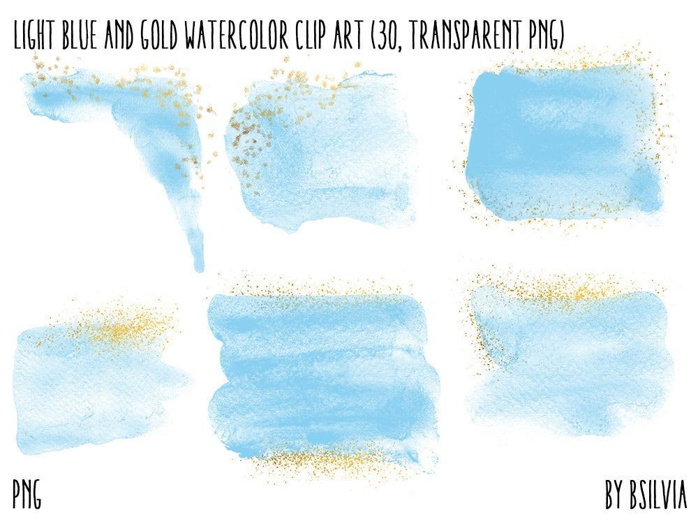 Light Blue And Gold Watercolor Clipart Transparent Png Gold Clip