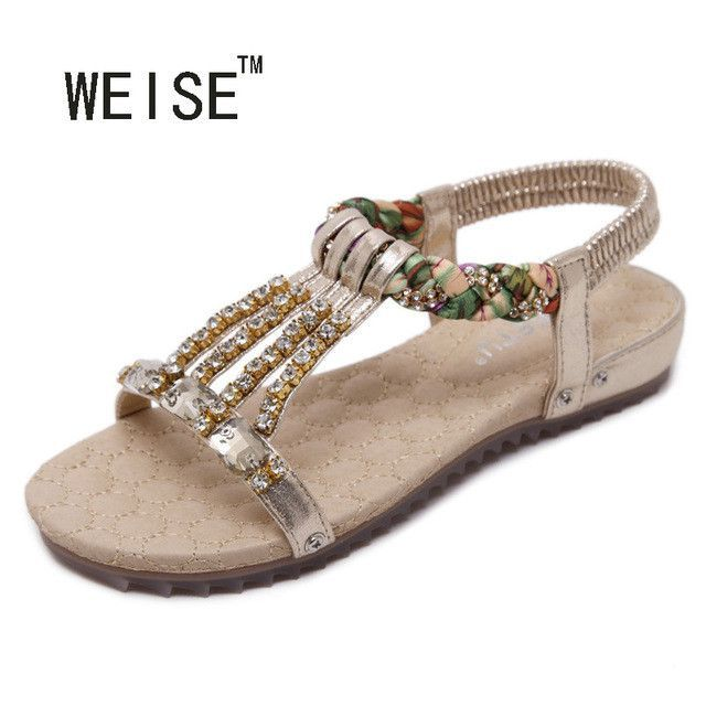 069f169e9d577 2017New Bohemian Beaded Sandals Large Size - Diamond Summer Sandals Women s  Flat Heel SandalsT-Strap Flip Flops Beach Shoes