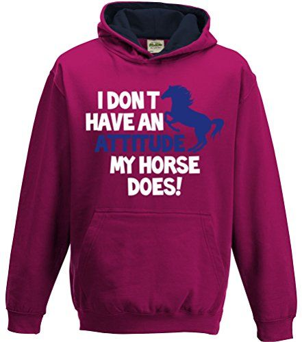 TWO TONE Hot Pink/Navy Hoodie 'I DON'T HAVE AN ATTITUDE MY HORSE DOES' with White & Pearlescent Blue print.