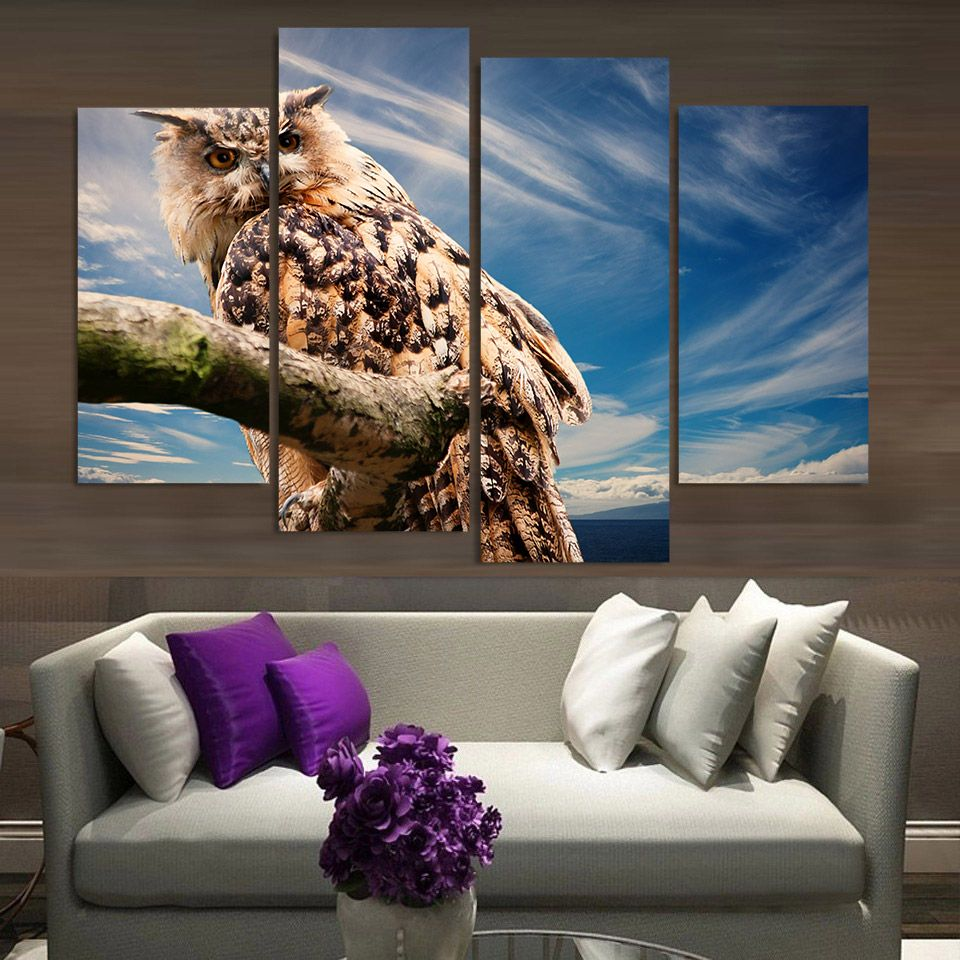 4 panel canvas art canvas painting owl brid cloud sky hd printed