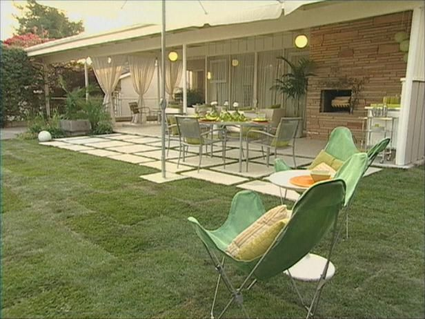 1970s patio, slab paving, grass, outdoor setting, curtains Home