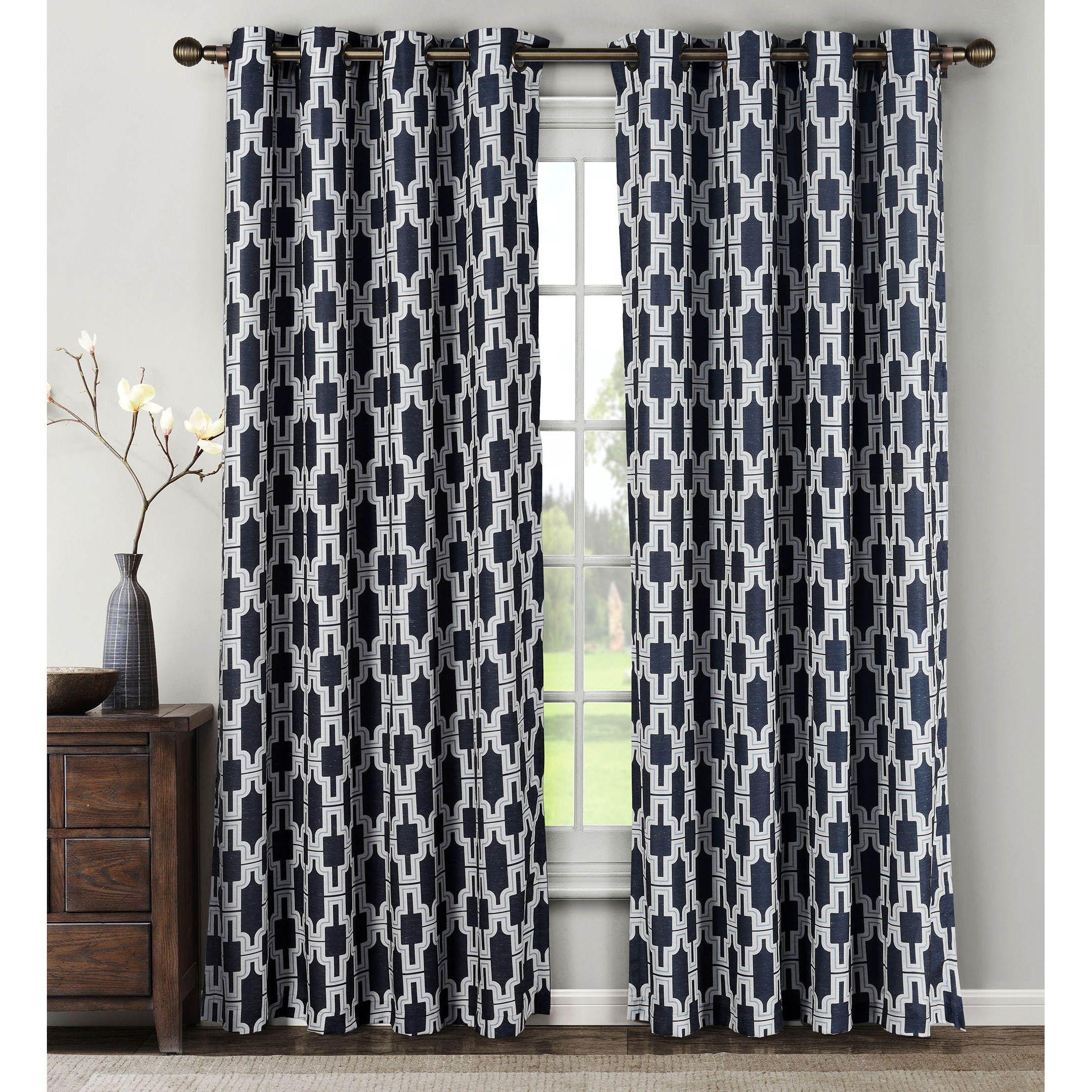 Window Elements Wesley Linen Blend 84-inch Extra Wide Grommet Curtain Panel (Set of 2) - 54 x 84 (Navy), Blue
