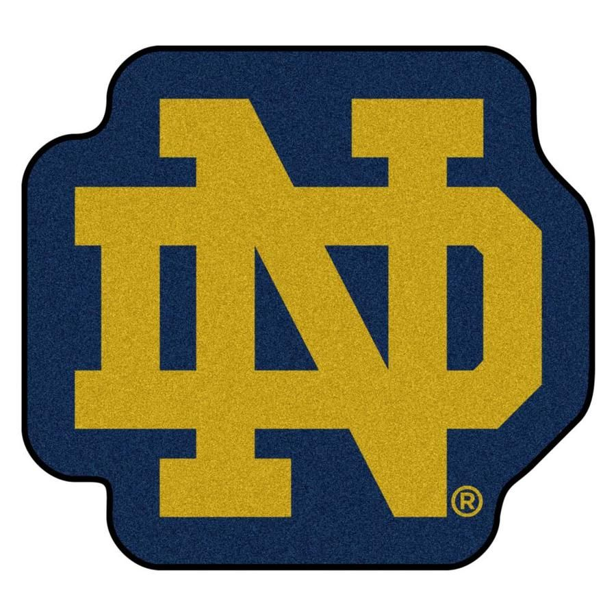 9 Ounce, 100 % Nylon Face. Recycled vinyl backing for a durable and longer-lasting product. Non-skid backing with taped borders for added durability. Vacuum regularly and spot clean for any easy and quick clean. Machine made and tufted in the USA. FANMATS Notre Dame Fighting Irish NCAA Mascot Mat 3 x 3 Navy Irregular Indoor Area Rug in Gold | 22926
