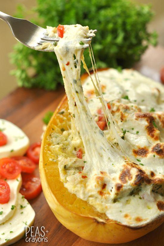 Cheesy Pesto Chicken Lasagna Stuffed Spaghetti Squash // hello delicious!
