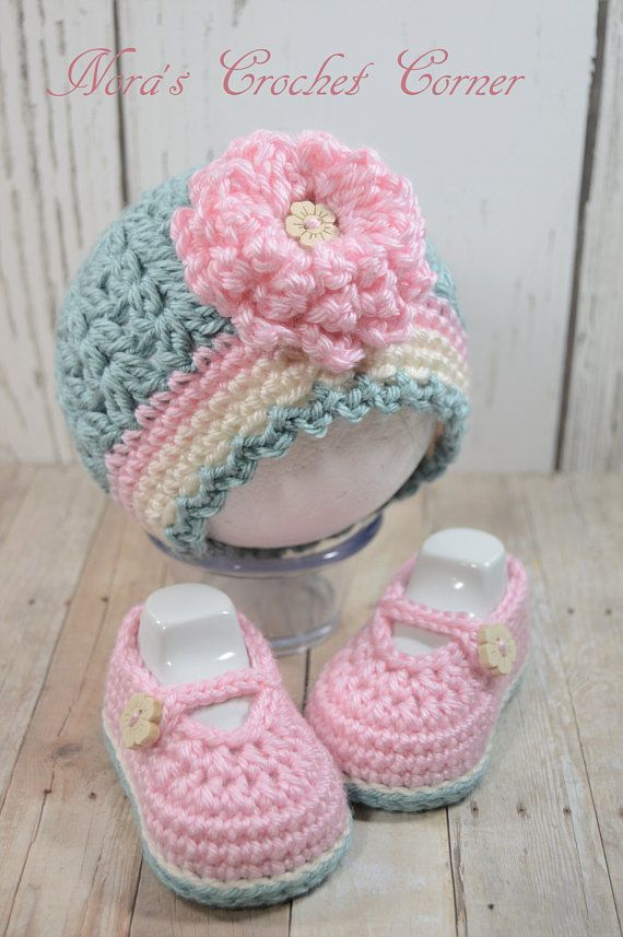 Photo of Crochet Baby Girl Hat and Mary Jane Shoes