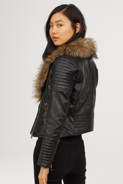 c2b53be99a5 Faux Fur-collar Biker Jacket - Black - Ladies