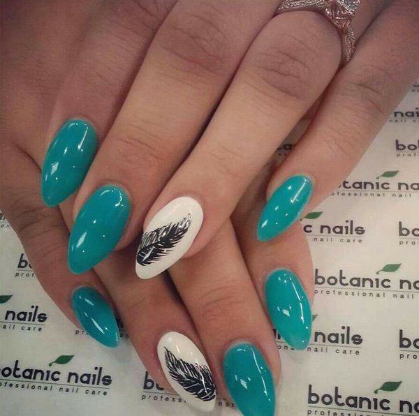 40 Examples Of Feather Nail Art Pinterest Feather Nail Art