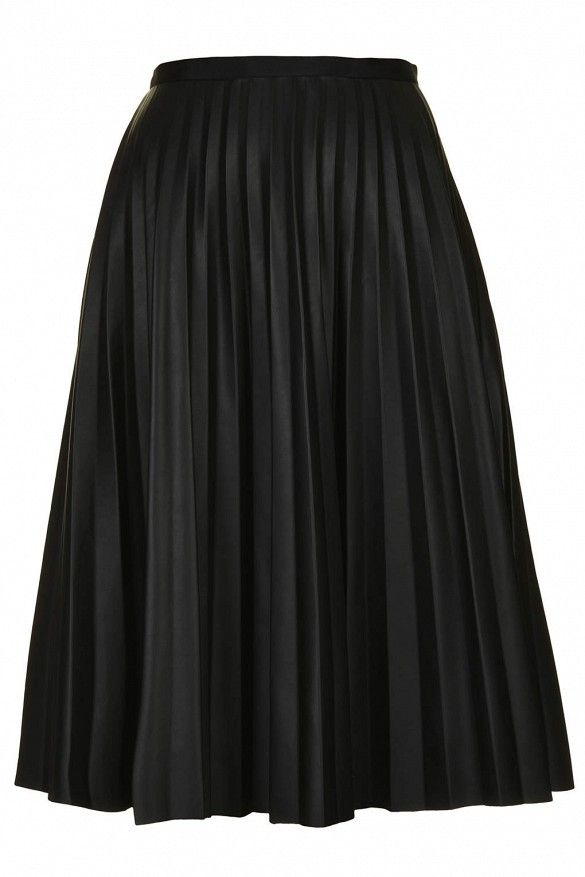 25e07fc07 Topshop Pu Black Pleated Midi Skirt in Black This pleated leather-look skirt  is both ultra-feminine and edgy.