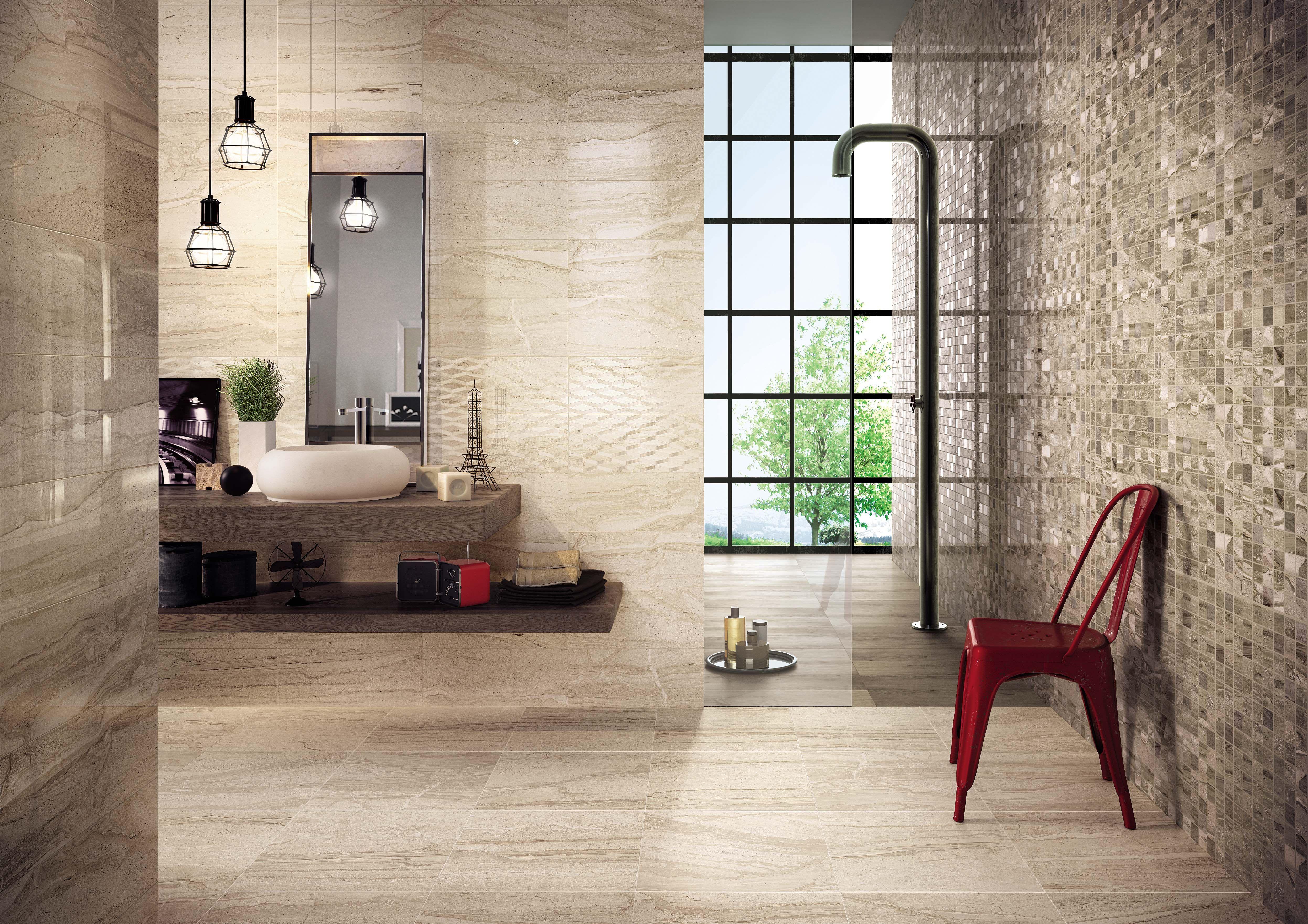 motion series porcelain tile walnut (Walnut mosaic tile on walls ...