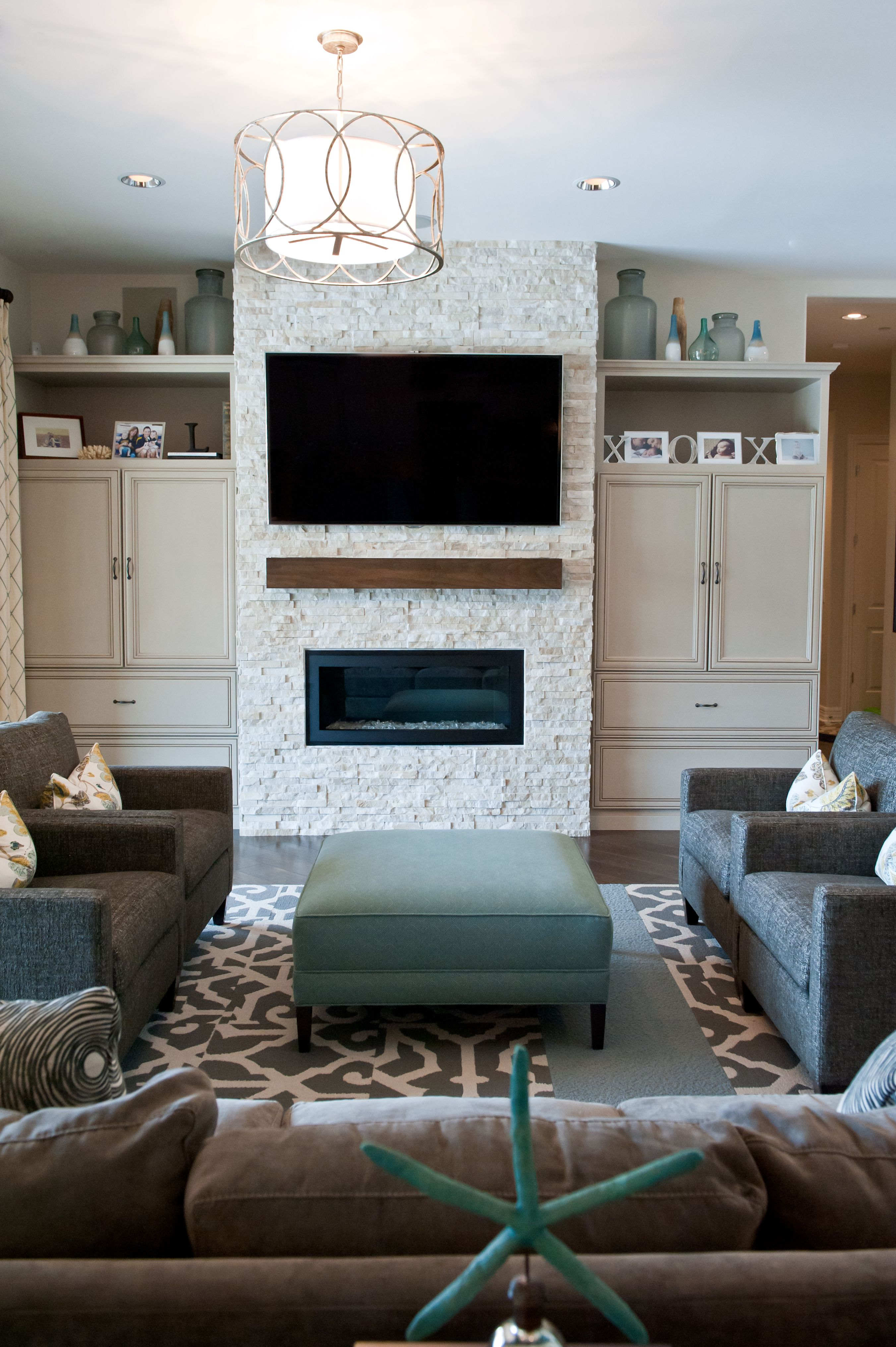 Custom Stone Fireplace with Built In Shelving Units Rustic Wood