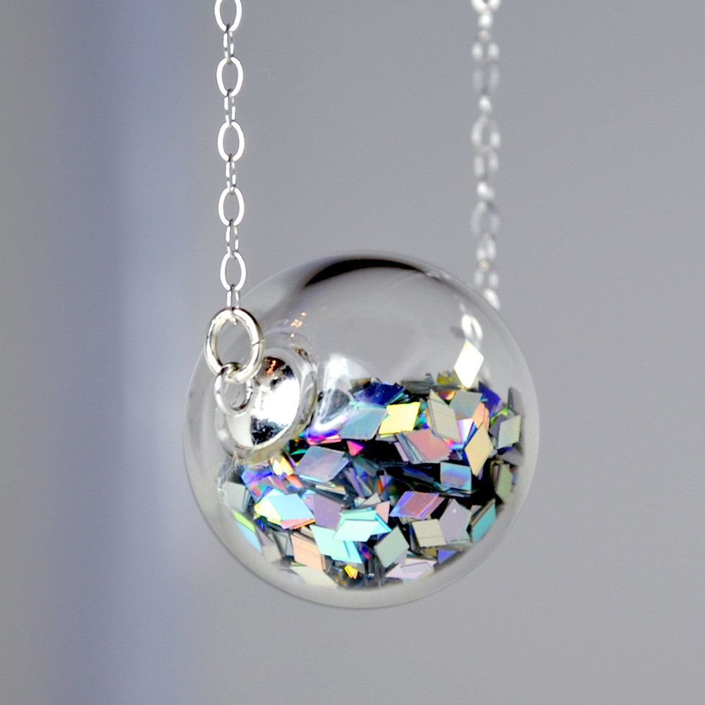Prism Glitter Hand Blown Glass Ball Sterling Silver Necklace 32 00 Via Etsy Pretty Jewellery Jewelry Cute Jewelry