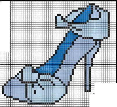 0 point de croix chaussure bleue - cross stitch blue shoe