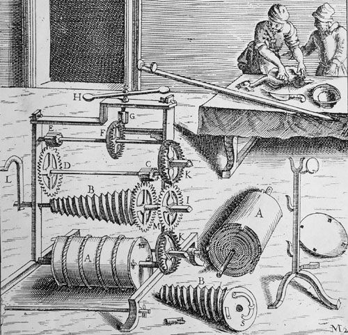 The mechanics of a 16th-century spit-roast machine. Spit jacks and clocks are mechanical cousins. This one has a fusee, but the escapement is a simple fan like a clock's strike train.