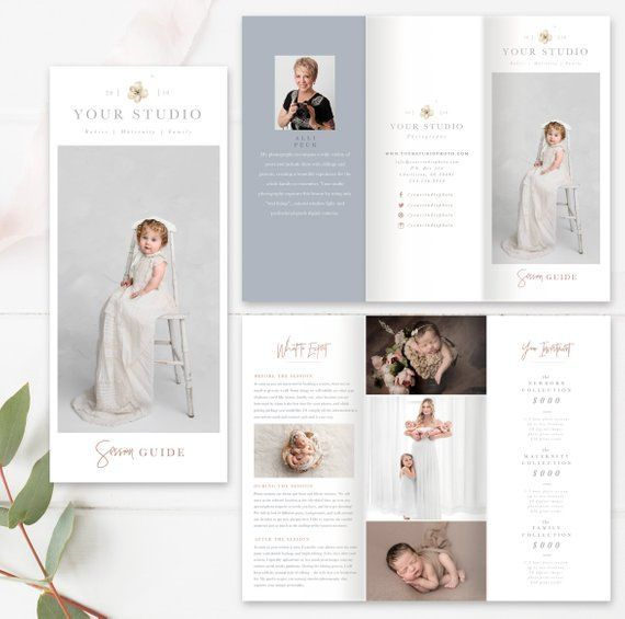 Welcome Free Templates For Photoshop: Photography Welcome Guide, 8.5x11 Newborn Trifold Brochure