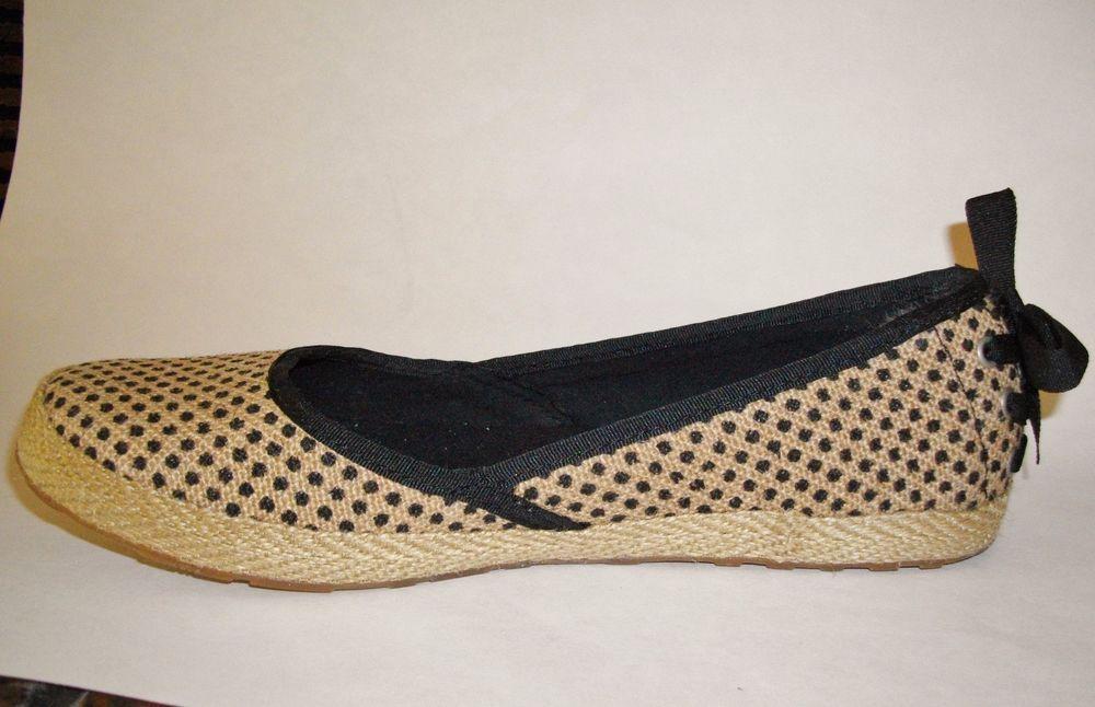 d75060b7889 Womens Ugg Indah Burlap Black Tan Dotted Flats Espadrilles Size 7 ...