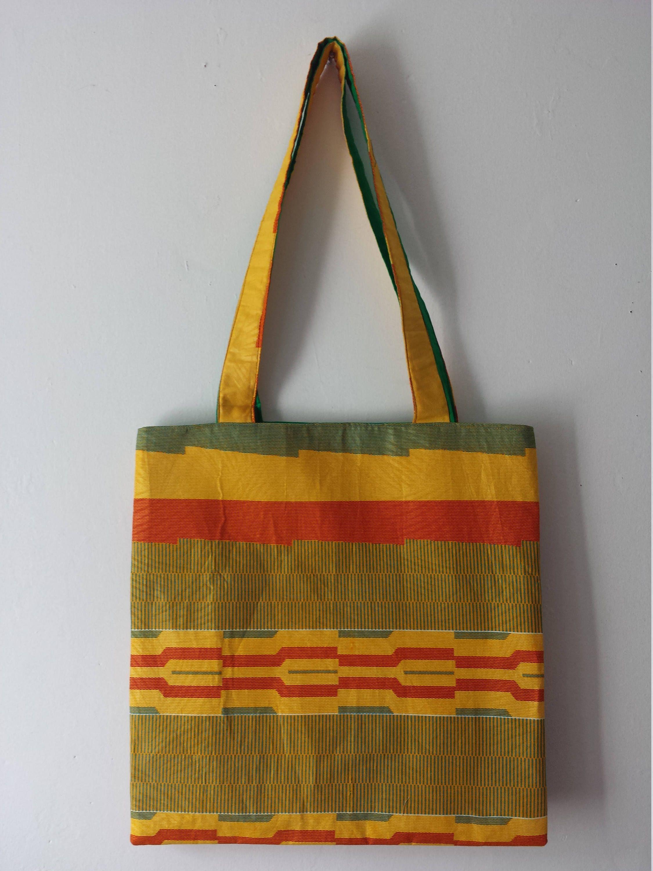 b88599397 African Print Ankara Kente Tote Bag with quilted Ankara/plain fabric straps  and Vlisco Uni