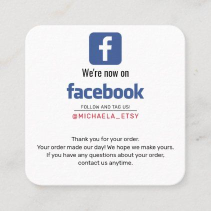 Facebook Purchase Note Thank You Promotional Square Business Card Zazzle Com Square Business Card Printing Business Cards Promotional Products Marketing