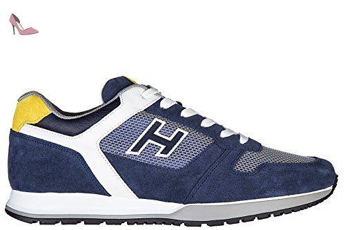 Hogan chaussures baskets sneakers homme en daim h321 h flock blu ...