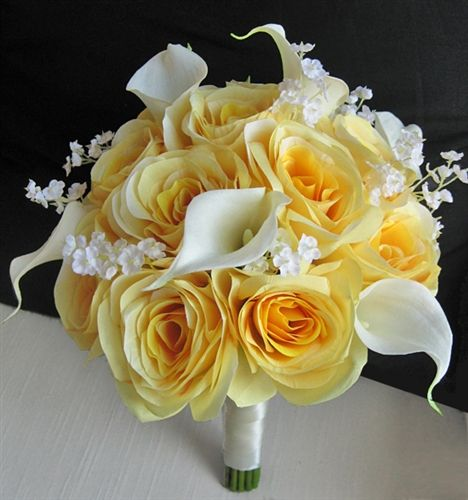 Yellow roses white calla lilies and babys breath they would look yellow roses white calla lilies and babys breath they would look amazing with real flowersbabys mightylinksfo Gallery