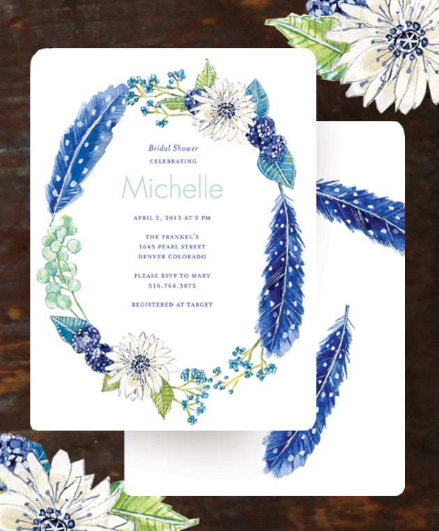 Radiant Periwinkle Wreath Bridal Shower Invitation for Wedding – Wedding Paper Divas Bridal Shower Invitations