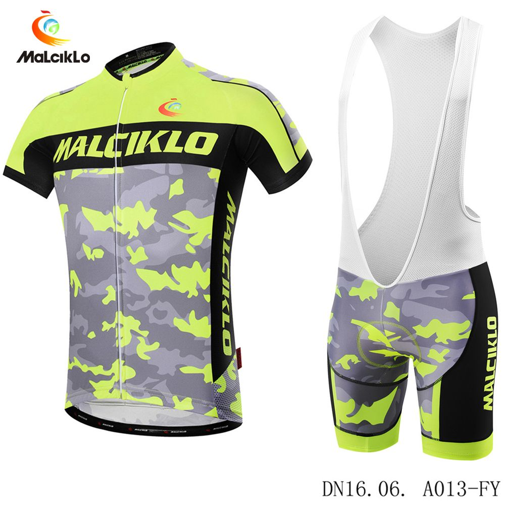 0fdab06dc Malciklo Summer Men Cycling Clothing Breathable Mountian Bike Wear Bicycle  Clothes Ropa Ciclismo Fluo Yellow Cycling Jersey Sets