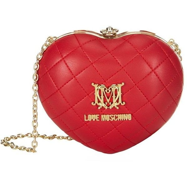 Love Moschino Quilted Heart Box Clutch | Harrods (470 BRL) ❤ liked on Polyvore featuring bags, handbags, clutches, heart shaped handbag, heart handbag, red purse, quilted heart shaped purse and red heart purse
