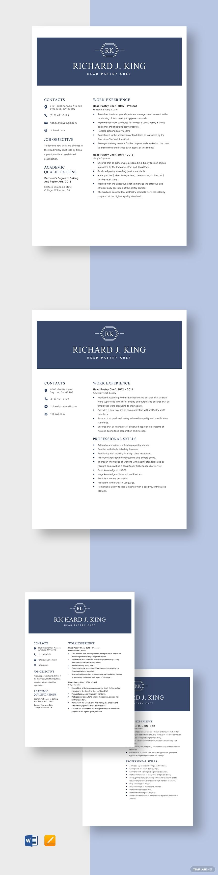 Head Pastry Chef Resume Template AD, , Ad, Pastry,