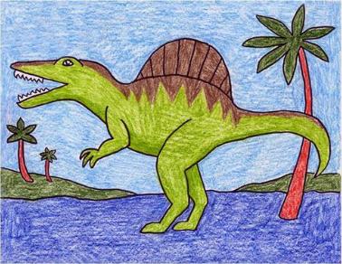 تعلم رسم الديناصور خطوة بخطوة تعليم الرسم تعلم الرسم ببساطة Spinosaurus Kids Art Projects Easy Art For Kids