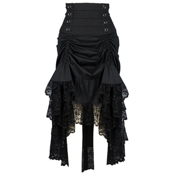 Plus Size Black Gothic Black 2 Way Lace Up Burlesque Hi Low Skirt