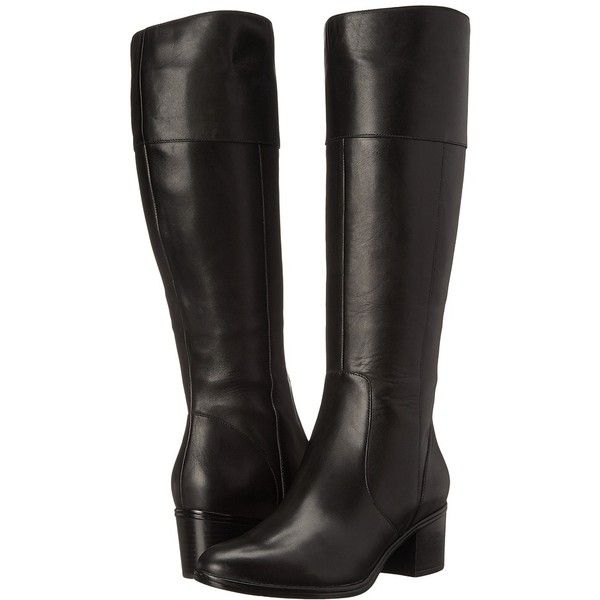 Naturalizer Harbor (Black Leather) Women's Boots ($150) ❤ liked on Polyvore  featuring