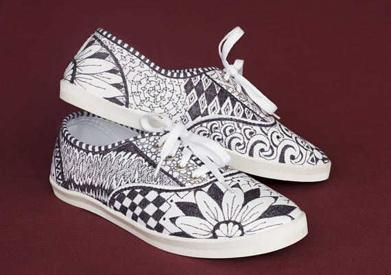 Hand Drawn Zentangle Doodle Canvas Shoes