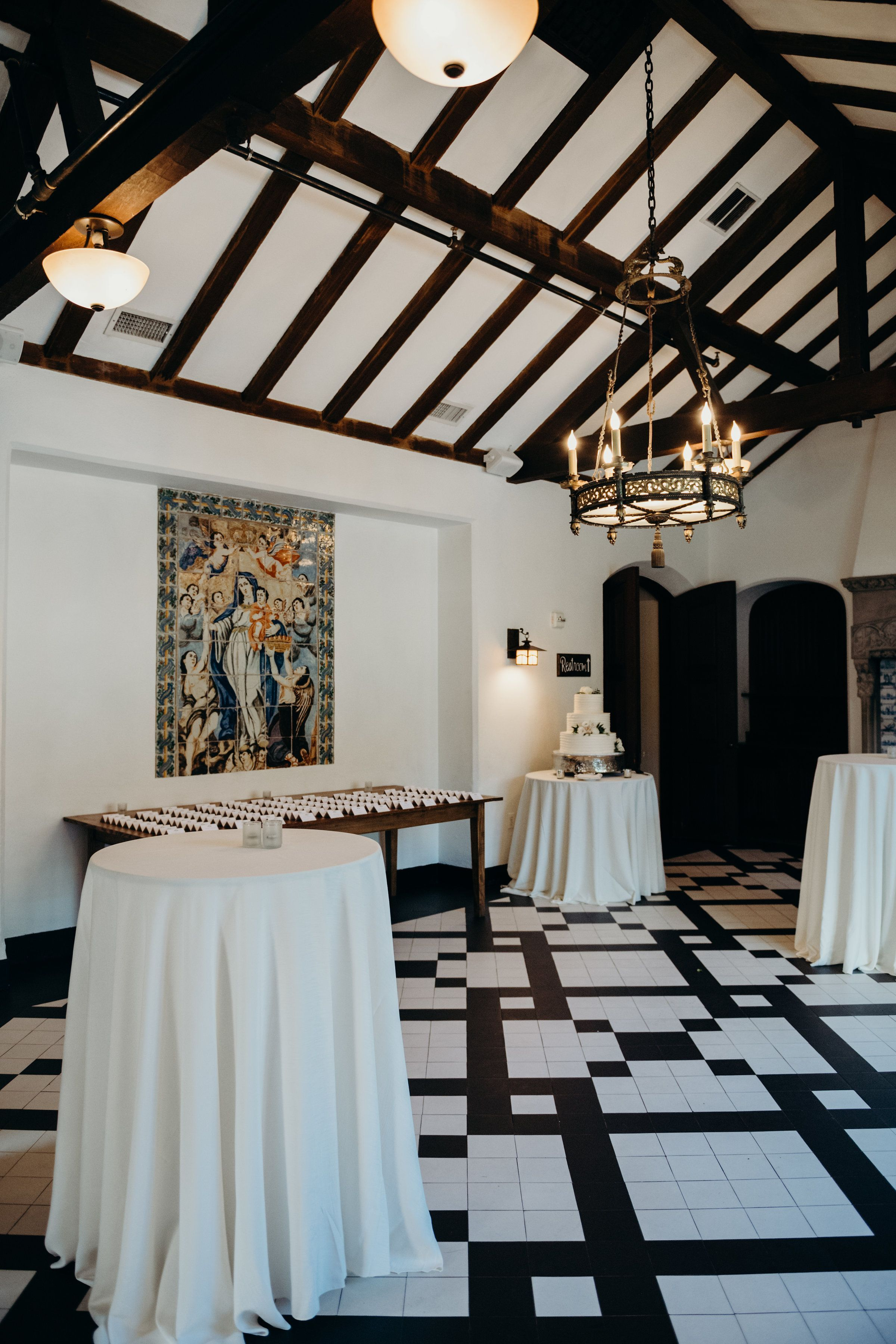 Our black and white tiled dining room with vaulted ceilings is a ...