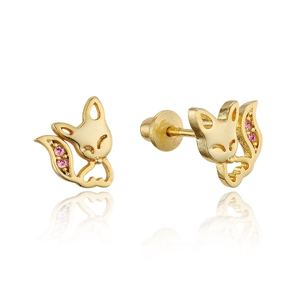b5a6c876c 14K Gold Plated Brass Children Baby Fox Screw Back Girls Earrings W Silver  Post