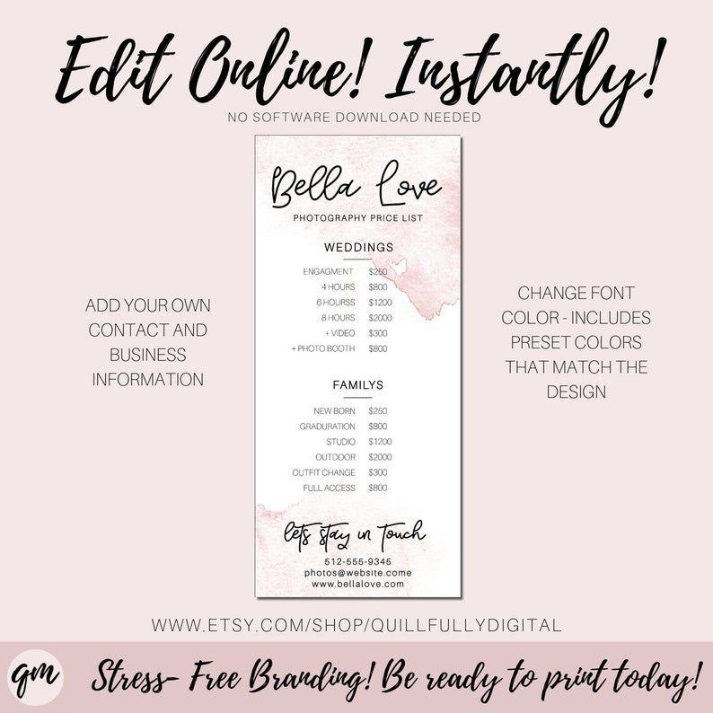Editable price list printable custom photography price