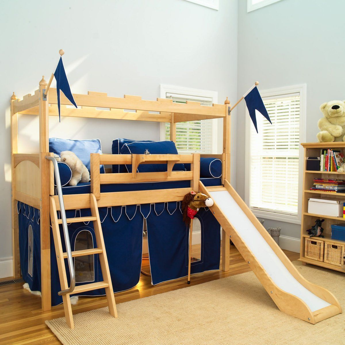 Loft bed with slide and storage  bedroom Marvelous Fun Bunk Beds With Sweet Slide Beside Wood Stair