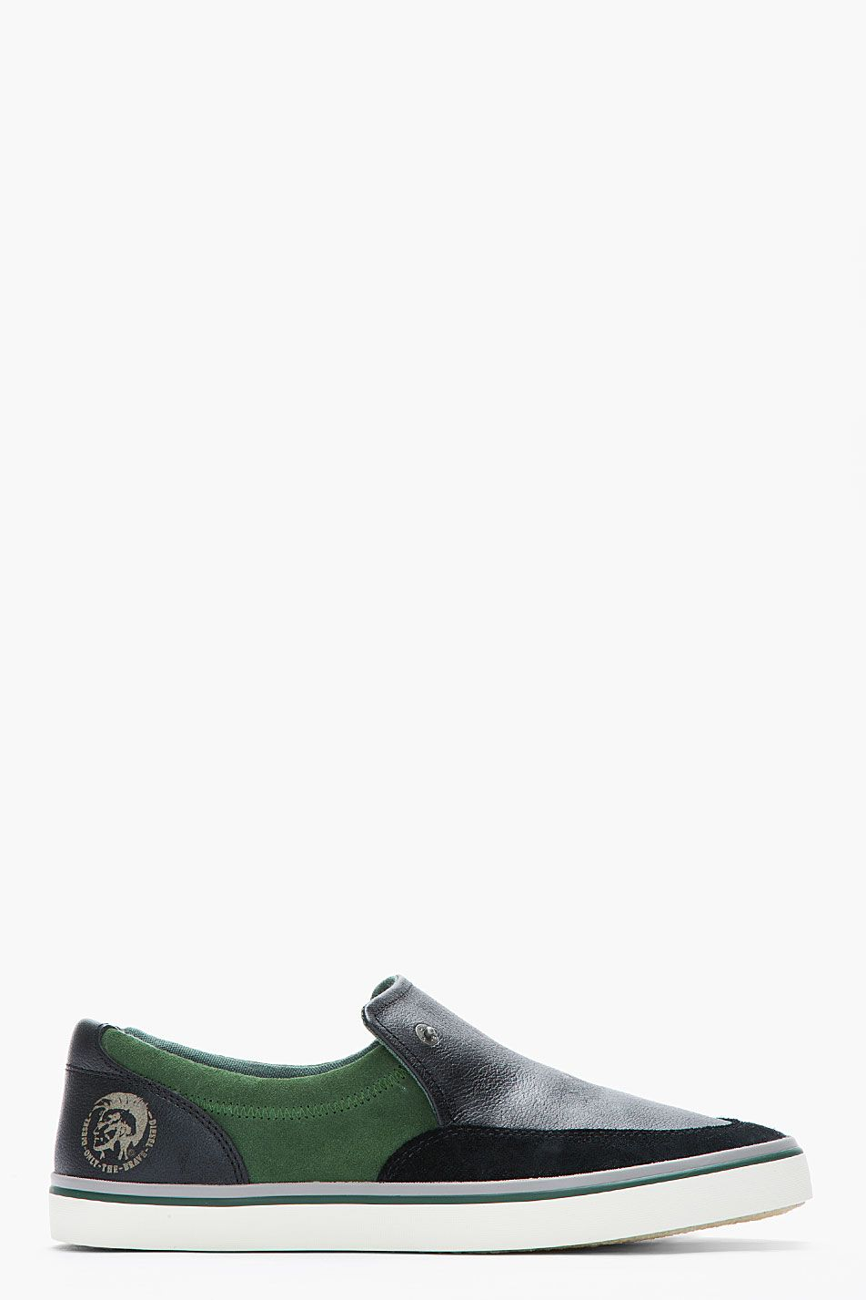 679551e3d05 DIESEL Black & Forest Green Leather Labuan Slip Ons | Men's Shoes ...
