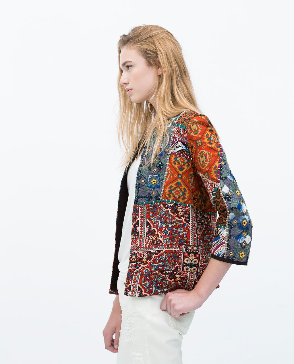 embroidered printed jacket trf new this week zara. Black Bedroom Furniture Sets. Home Design Ideas