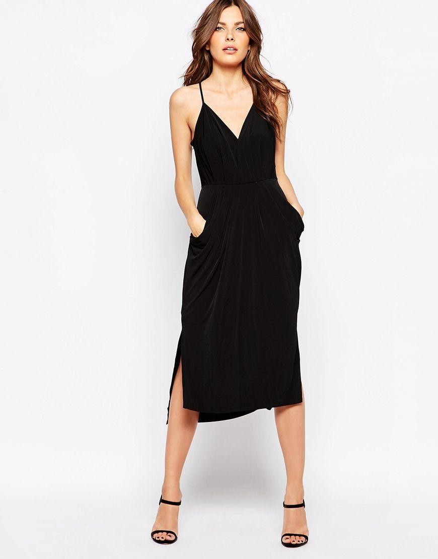33653f2c3a8 Black Midi Dress With Pockets