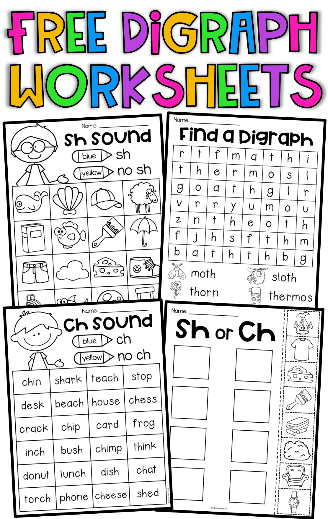Free Digraph Worksheets Ch Th Sh 1st Grade Phonics