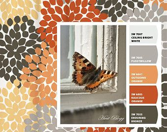 gray and orange shower curtain. Shower Curtain Gray Orange Monarch Inspired Floral Standard and Long  Lengths 70 74 78