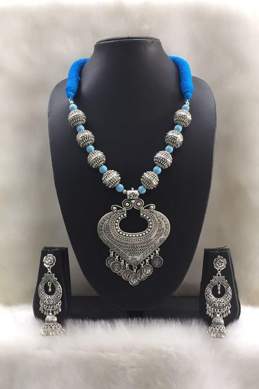Blue and silver gemstone threaded necklace set instajewelry