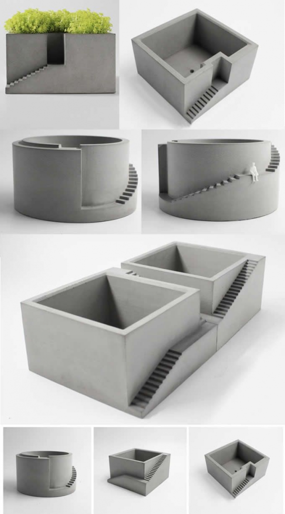 Handmade DIY  Concrete Ideas Projects Geometry Concrete Architecture Stairs Succ… - vase diy