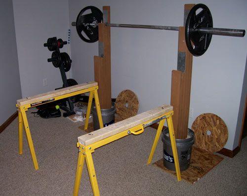 Homemade Strength Saw Horse Safety Stands Diy Home Gym