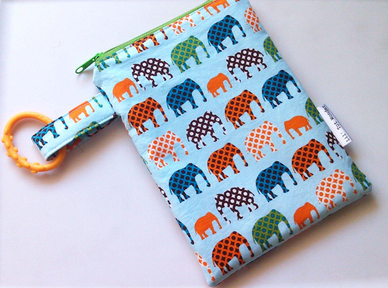 Elephants Wet Bag/Multipurpose Bag on the GO by LilTotWonder, $12.25