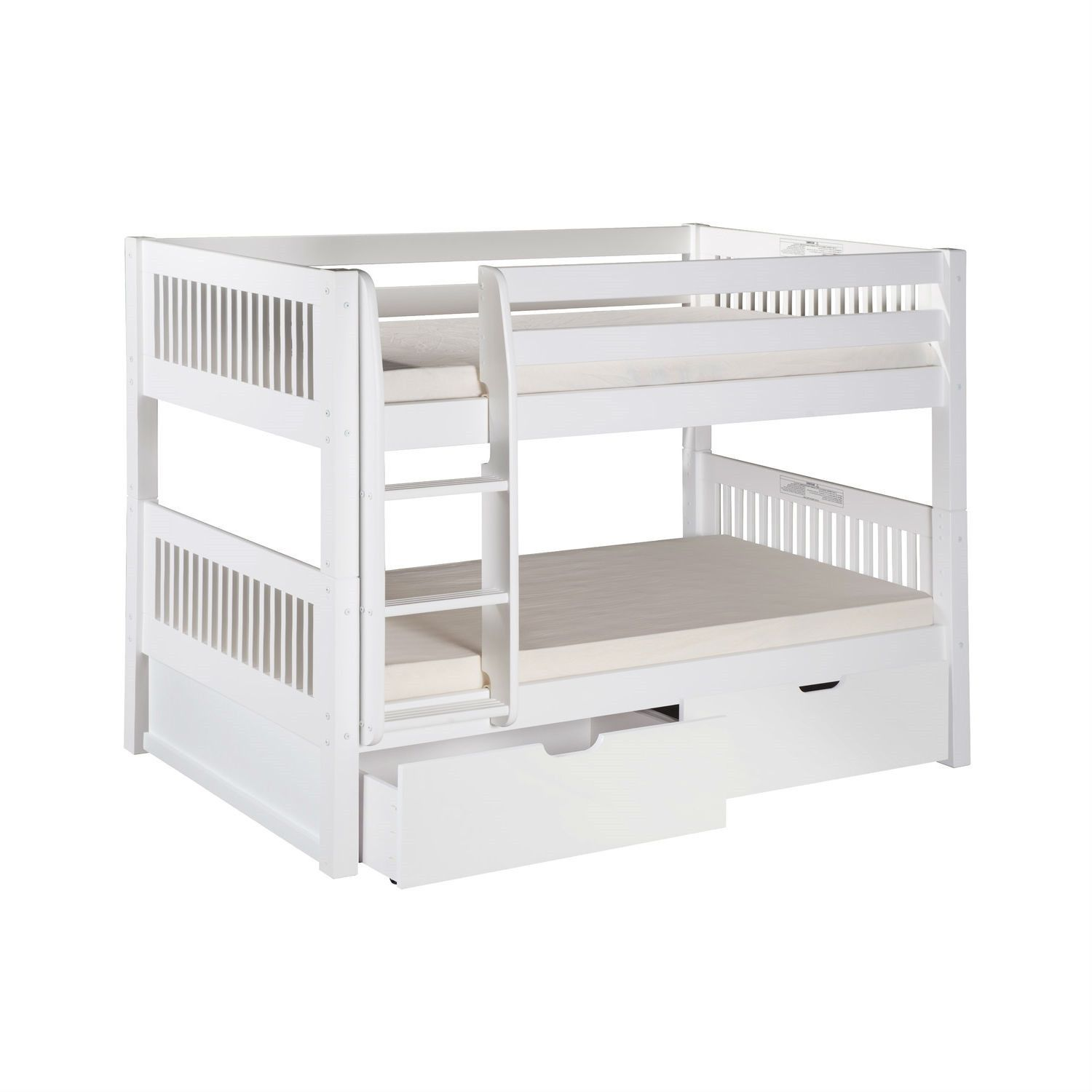 White Twin Over Twin Bunk Bed with Bottom Storage Drawers and Ladder
