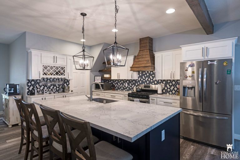 Ranch Kitchen With Blue Cabinets Blue Kitchen Cabinets Kitchen Kitchen Inspirations