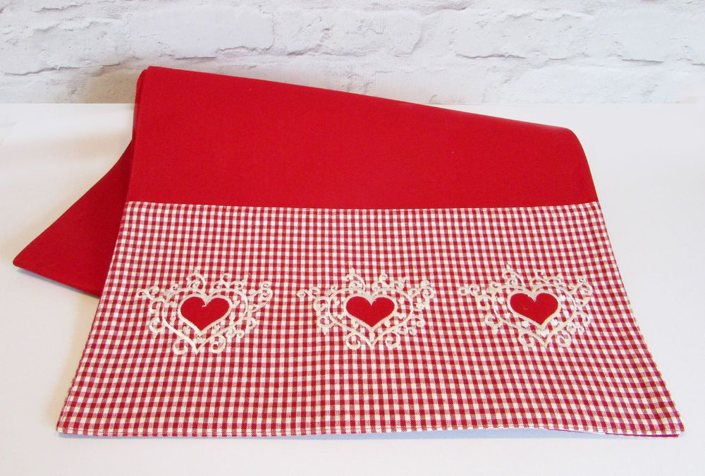 Nordic Scandi Valentines Table Runner Red & White Gingham & Embroidered Hearts