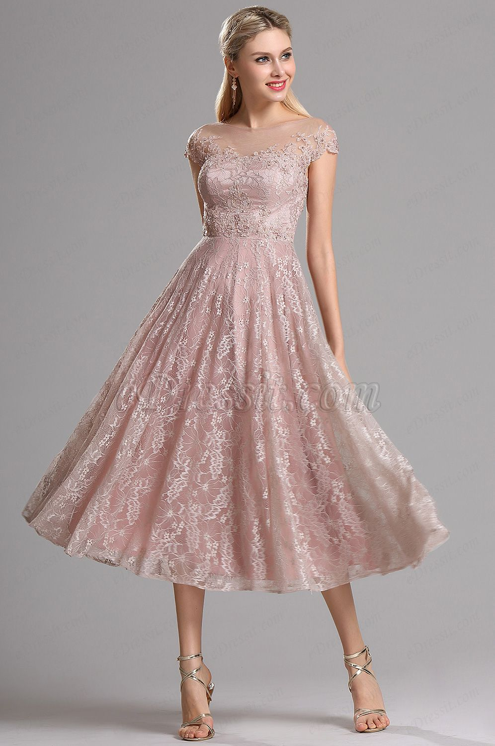 eDressit Rosy Brown Illusion Neckline Lace Prom Cocktail Dress ...