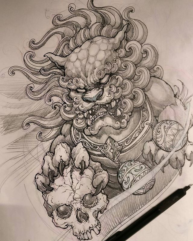 Foodog Sketch By Artist Davidhoangtattoo Worldofpencils2016 Foo Dog Tattoo Design Foo Dog Tattoo Tattoo Design Drawings
